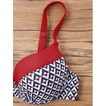 Chevron Contrast Trim Bikini Set - RED S