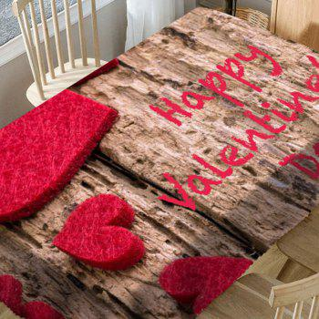 Love Hearts Letter Print Waterproof Valentine's Day Table Cloth - WOOD COLOR W54 INCH * L72 INCH
