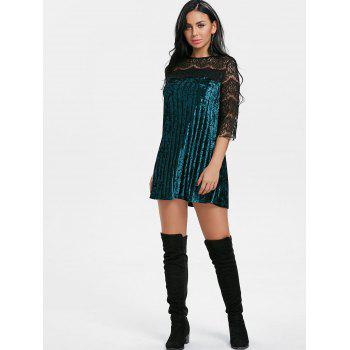 Pleated Lace Panel Velvet Dress - GREEN GREEN