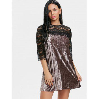 Pleated Lace Panel Velvet Dress - COFFEE L