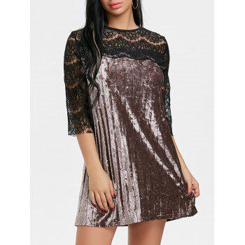Pleated Lace Panel Velvet Dress - COFFEE COFFEE
