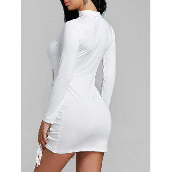 Keyhole Lace Up Mini Dress - WHITE WHITE