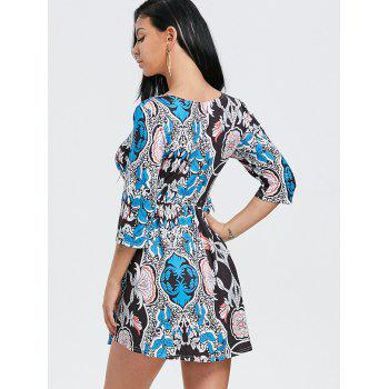 Scoop Neck Floral Print Mini Dress - BLACK BLACK