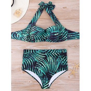 Tropical Print Plus Size Bikini Set - GREEN GREEN