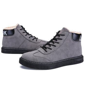 Tie Up Faux Fur Lined Winter Boots - GRAY 43