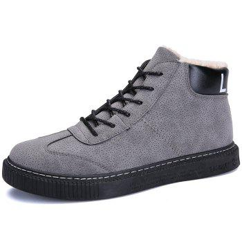 Tie Up Faux Fur Lined Winter Boots - GRAY 42