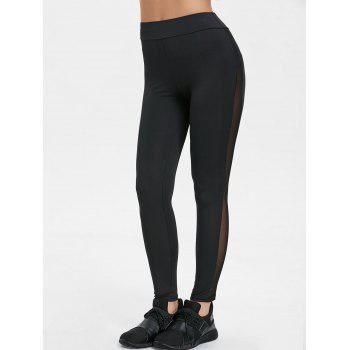 High Waisted Sheer Mesh Insert Yoga Pants - BLACK BLACK