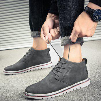 Breathable Studs Faux Leather Casual Shoes - GRAY 44