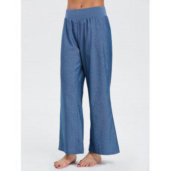 Wide Leg Elastic Waist Denim Pants - BLUE BLUE