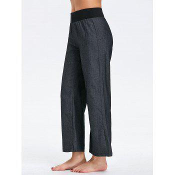 Wide Leg Elastic Waist Denim Pants - BLACK 2XL