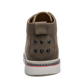 Breathable Studs Faux Leather Casual Shoes - KHAKI 41