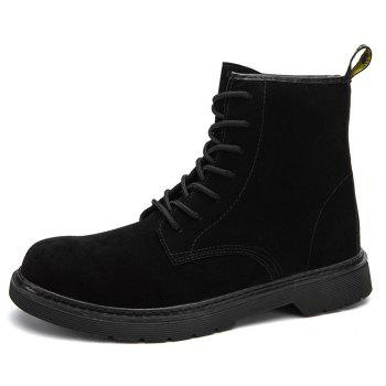 Back Pull-tab Tie Up Chukka Boots - BLACK 44