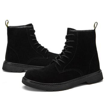 Back Pull-tab Tie Up Chukka Boots - BLACK 39