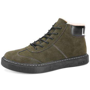 Tie Up Faux Fur Lined Winter Boots - GREEN GREEN