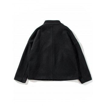 Cloak Pockets Woolen Jacket - BLACK BLACK