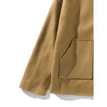 Cloak Pockets Woolen Jacket - KHAKI XL
