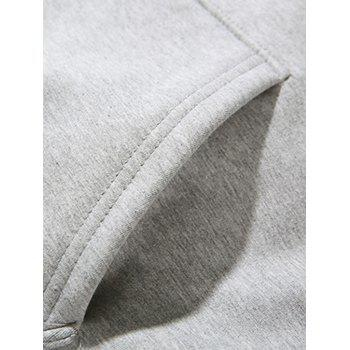 Cartoon Graphic Print Fleece Zip Up Hoodie - GRAY GRAY