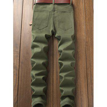 Skinny Flower Embroidery Distressed Jeans - ARMY GREEN 32