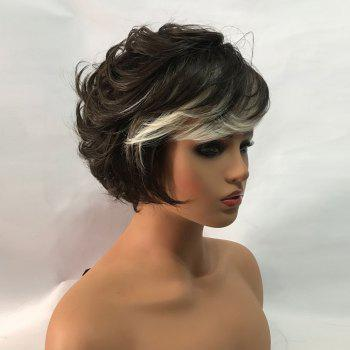 Short Colormix Side Bang Fluffy Layered Slightly Curly Synthetic Wig - COLORMIX