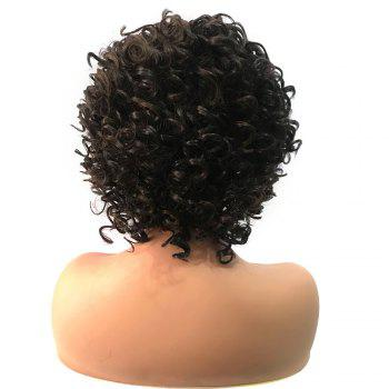 Short Side Bang Fluffy Colormix  Kinky Curly Synthetic Lace Front Wig - BLACK/BROWN
