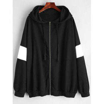 Plus Size Zip Up Color Block Hoodie - BLACK BLACK