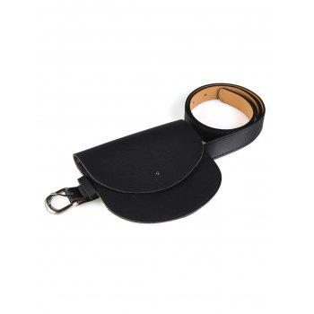Vintage Mini Bag Embellished Artificial Leather Waist Belt - BLACK