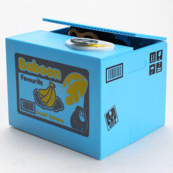 Automatic Stole Coin Monkey Shape Cartoon Money Box - BLUE