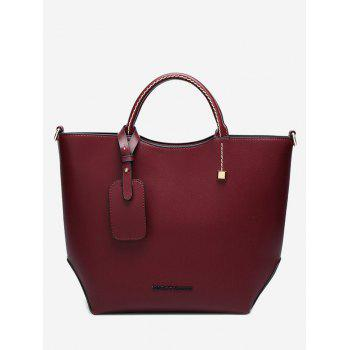 Faux Leather Rivet Stitching Letter Handbag - WINE RED WINE RED