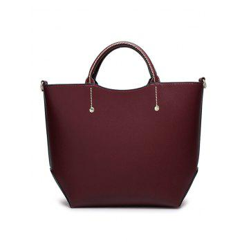 Faux Leather Rivet Stitching Letter Handbag -  WINE RED