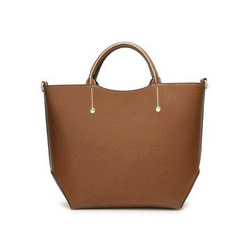 Faux Leather Rivet Stitching Letter Handbag -  LIGHT BROWN