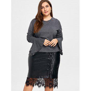 Plus Size Short Bell Sleeve Blouse - GRAY 3XL