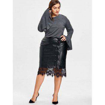 Plus Size Short Bell Sleeve Blouse - GRAY GRAY