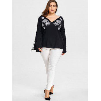 Plus Size Cutout Sleeve V-neck Embroidery Blouse - BLACK 3XL