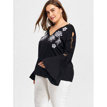 Plus Size Cutout Sleeve V-neck Embroidery Blouse - BLACK 5XL