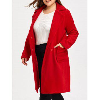 Plus Size Belted Wool Blend Trench Coat - RED RED