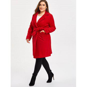Plus Size Belted Wool Blend Trench Coat - RED 3XL