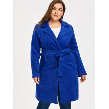 Plus Size Belted Wool Blend Trench Coat - ROYAL ROYAL
