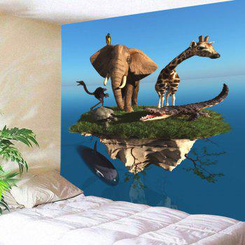 Floating Island Animal Printed Wall Hanging Tapestry - BLUE BLUE