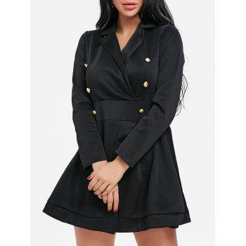 Button Lapel Collar Long Sleeve Dress - BLACK BLACK