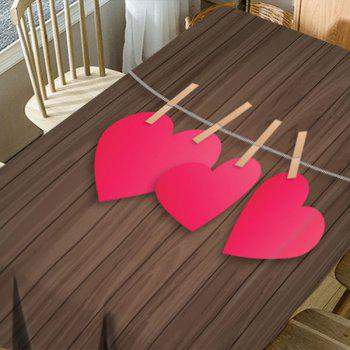 Heart and Wood Grain Printed Waterproof Table Cloth - COLORFUL W54 INCH * L72 INCH