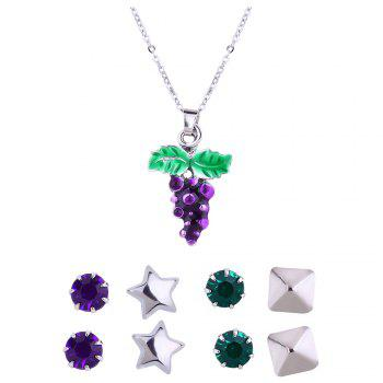 Metal Grape Pendant Necklace and Earrings Set - SILVER SILVER
