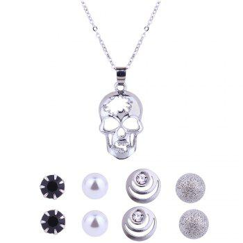 Hollow out Skull Necklace and Stud Earrings - SILVER SILVER