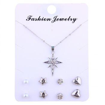 Artificial Diamond Star Necklace and Stud Earrings - SILVER