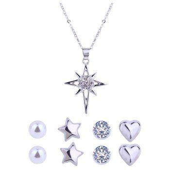 Artificial Diamond Star Necklace and Stud Earrings - SILVER SILVER