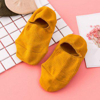 Pair of  Solid Color Crochet Knitted Ankle Socks -  YELLOW