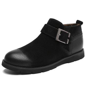 Side Zip Buckle Strap PU Leather Causal Shoes - BLACK BLACK