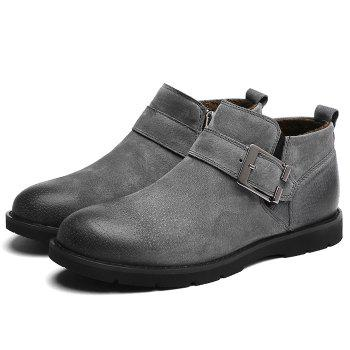 Side Zip Buckle Strap PU Leather Causal Shoes - GRAY GRAY