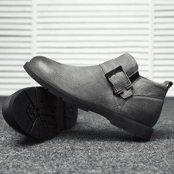 Side Zip Buckle Strap PU Leather Causal Shoes - GRAY 41