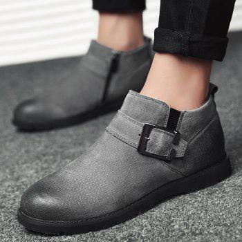 Side Zip Buckle Strap PU Leather Causal Shoes - GRAY 39
