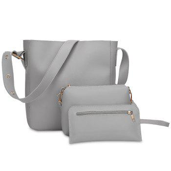 PU Leather 3 Pieces Shoulder Bag Set - GRAY GRAY